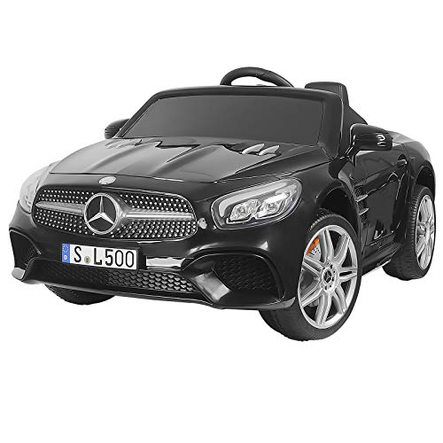 Uenjoy 12V Kids Ride On Car Electric Cars Motorized Vehicles for Girls, with Remote Control, Music, Horn, Spring Suspension, Safety Lock, Compatible Mercedes-Benz SL500 ,Black