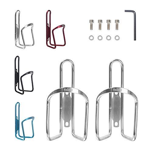Hobein Sports 2er Set Fahrrad Flaschenhalter, Aluminium Trinkflaschenhalter Rennrad Getränkehalter - 4 Schrauben & Werkzeug (Silber)
