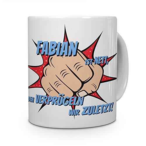 printplanet Tasse mit Namen Fabian - Motiv Verprügeln - Namenstasse, Kaffeebecher, Mug, Becher, Kaffeetasse - Farbe Weiß
