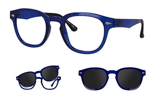 """Thema 286 Color 004 Azul oscuro Montura para gafas de vista y sol con 1 Clip-on Original """"99 John St NYC"""" Género hombre"""