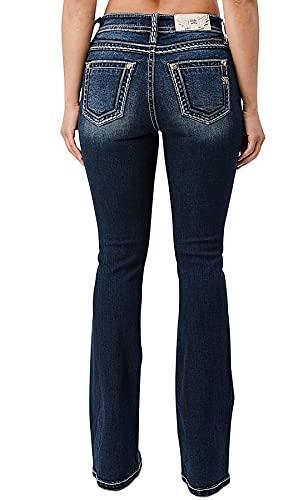 Miss Me Women's Heavy Stitch Embroidered Pocket Medium Wash Bootcut Jeans Blue 29W x 32L