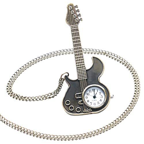 JHYMM Orologio da Tasca Steampunk Bronzo Antico Chitarra Forma Quarzo Orologio da Tasca Collana Ciondolo Regalo Ragazze Donne
