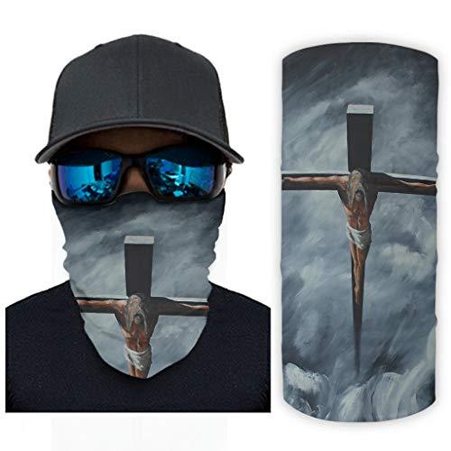CCMugshop Máscara facial con diseño de bandana Dark Good Friday He Has Raised Print Neck Gaiter Seamless White One Size