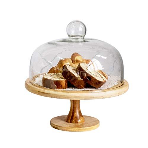 TXOZ Plato de servir multifuncional, soporte de pastel reutilizable de madera, bandeja de pasteles con cúpula de pastel de vidrio, soporte para pasteles, ensalada, plato, bollo, plato de desierto, pla