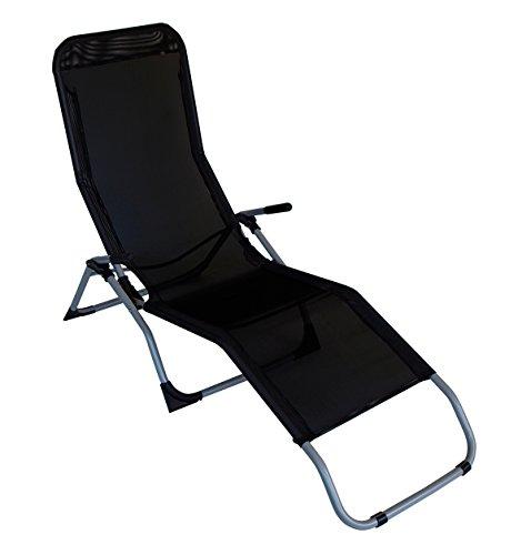 DEGAMO Kippliege Sylt, Stahl grau + Textilgewebe schwarz,klappbar, für Innen + Außen (1)