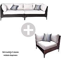 Conjunto Muebles de Jardín Ratán   Módulo Esquinero + Sofá 2 plazas Izquierdo + Sofá 2 plazas Derecho   Muebles para terraza/Exterior   Set de Ratán Sintético   Modelo Santo Color Marrón Chocolate