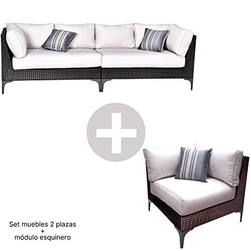 Conjunto Muebles de Jardín Ratán | Módulo Esquinero + Sofá 2 plazas Izquierdo + Sofá 2 plazas Derecho | Muebles para terraza/Exterior | Set de Ratán Sintético | Modelo Santo Color Marrón Chocolate