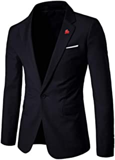 Mens Classic Fitted Black,Navy Blazer Suit Jacket Goosun One Buttons Classic Jacket Single Breasted Solid Blazer Business ...
