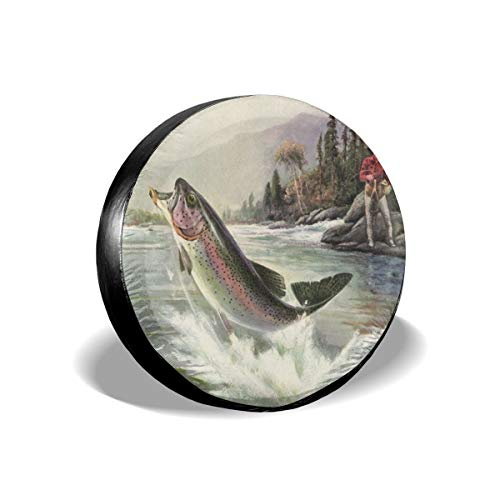 Carwayii Spare Tire Cover Vintage Rainbow Trout Fish, Sun Protector Waterproof Cover Wheel, Universal Sunscreen Waterproof for Car Truck Accessories Universal Fit 14 Inch