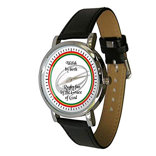 Your Watch Design Unisex Uhr. Erwachsenengröße. Analog Quarz mit Leder Armband, Welsh Rugby Fan