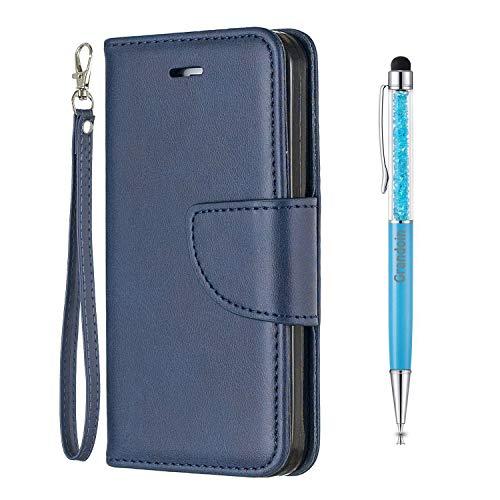 Grandoin Funda para Samsung Galaxy Note 10 Plus, Funda de Cuero PU con Tapa Cierre Magnético y Ranuras para Tarjetas Carcasa Libro Protectora para Teléfono, Tipo Étui Piel Protección (Azul)