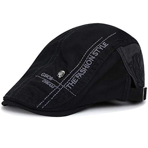Kuyou Unisex Gatsby Flatcap Schiebermütze Ivy Schirmmütze Kappe (Schwarz)