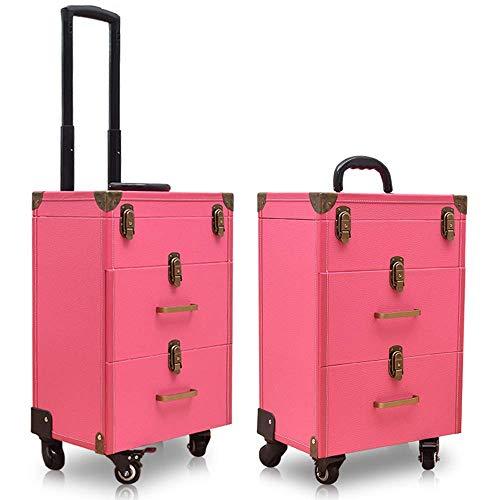 2/3 Nivel de Maquillaje Maleta de Maquillaje Lockable Cosmética Estuche de Tren Peluquerías Trolley Belleza Equipaje Travel Artist DDLS (Color : Pink, Size : 20in)