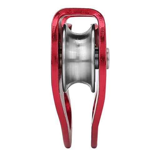 Polea de tirolina de Escalada Trolley Doble 25KN Aleación de Aluminio Heavy Duty Single Swivel Rope Polea Block Climbing Safety Equipment(Rojo)