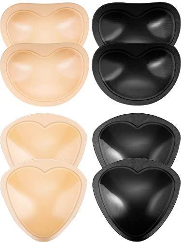 Frienda 4 Pares de Almohadillas de Sujetador Autoadhesivas Insertos Desmontable Push Up Rellenos de Pecho para Bikini, 2 Formas (Negro y Beige)