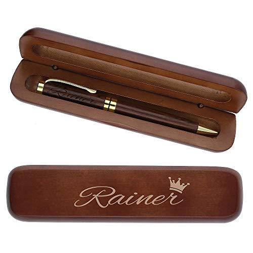 Holz Kugelschreiber mit personalisierter Gravur des Namens Edle Geschenk Idee Krone dunkelbraun