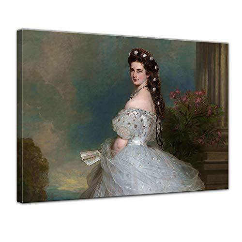 Wandbild Sisi Elisabeth von Österreich-Ungarn - 80x60cm quer - Leinwandbild Kunstdruck Bild auf Leinwand Gemälde - Berühmtheiten & Zeitgeschichte