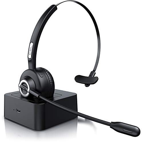 CSL - kabelloses Headset mit Ladestation - Mono Bluetooth Headset mit Mikrofon - USB Ladeport - Multipoint - Rauschunterdrückung - leicht - freisprechen - PC Tablet Smartphone - Home Office Büro