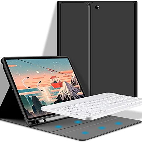 LGQ Funda con Teclado para iPad Pro 12,9 Pulgadas, Funda con Teclado Bluetooth inalámbrico Desmontable, Funda TPU con Soporte, Adecuada para Apple 2021/2020/2018 5/4 / 3 generación de 12.9',Negro