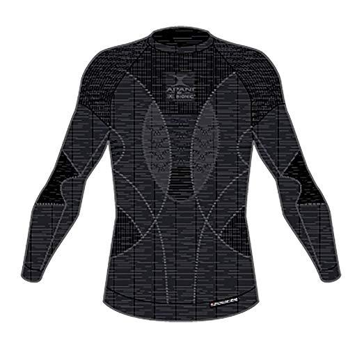 X-Bionic Apani 4.0 Merino Round Neck Long Sleeves Strato Base Camicia Funzionale, Uomo, Black/Black, M
