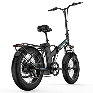 """41CjF2CInoL. SS300 Bicicletta Elettrica Pieghevole Fat Tire 20""""* 4"""" Con Batteria Agli Ioni Di Litio Da 48V15Ah, 750W Bicicletta Da Montagna Da Città A Lungo Raggio"""