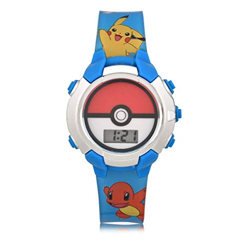 Pokemon Kids' Quartz Watch with Plastic Strap, Blue, 16 (Model: POK4243AZ)