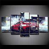 Cuadro Supra Coche Rojo XXL Impresiones En Lienzo 5 Piezas Cuadro Moderno En Lienzo Decoración para El Arte De La Pared del Hogar HD Impreso Mural Enmarcado
