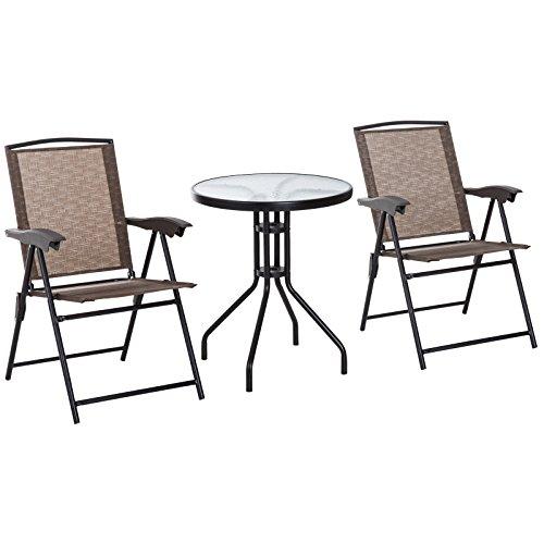 Outsunny Conjunto Mesa y 2 Sillas Muebles para Jardín Exterior Patio Terraza Silla Plegable Respaldo Reclinable a 4 Niveles Textilene Marco Acero Marrón