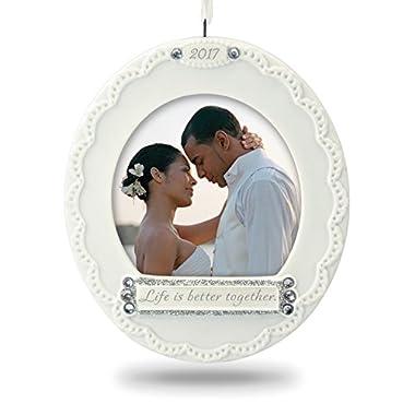 Hallmark Keepsake 2017 Life Is Better Together Photo Holder Porcelain Dated Christmas Ornament