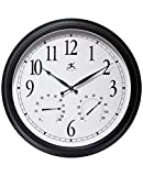 Infinity Instruments 24 inch Large Outdoor Weatherproof Waterproof Wall Clock Thermometer Hygrometer Clock Combo for Patio, Garden, Garage, Battery Operated Easy to Read