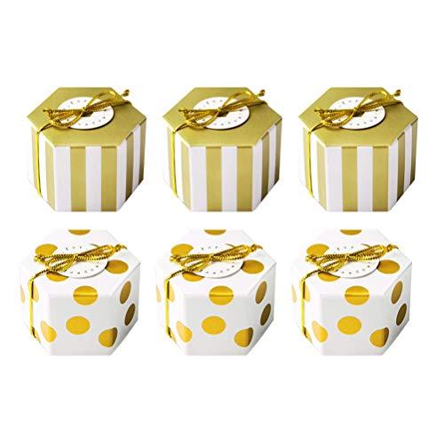 TOYANDONA 50 Stücke Parteibevorzugung Süßigkeiten Geschenkboxen Süße Geschenkverpackung Box für Hochzeiten Party Baby Shower Geburtstage - Ohne Karte und Goldene Seil (4,8x2,5x3 cm)