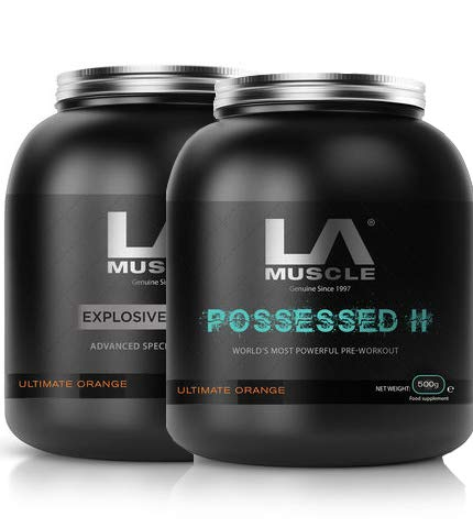 LA Muscle Insanity Stack (Creatine + Possessed II) Creatine and Pre Workout Powder for Performance with D-Aspartic Acid, Beta-Alanine, Taurine and Natural Caffeine| No Water Retention