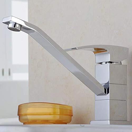 QCSMegy Accesorios De Plomería Cromado Giratorio Un Solo Enlace Ahorro De Agua Fría Y Caliente Protección del Medio Ambiente Llave Tipo Bañera Llave