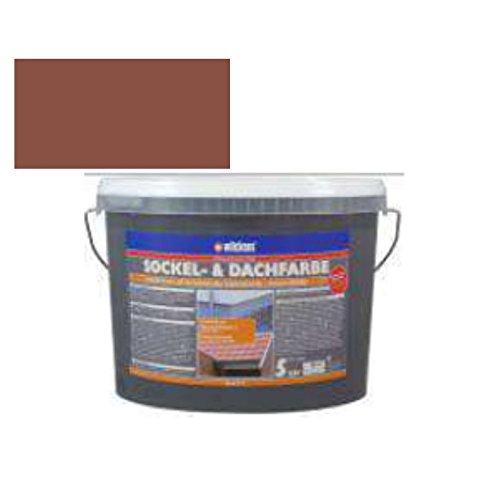 Sockel- & Dachfarbe inkl. 4x 5m Abdeckfolie von E-Com24 (Sockelfarbe Ziegelrot 5 Liter)