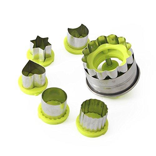 6 Stück Linzer Cookie Cutter Classic Set inkl. Herz, Stern, Blume, Mond, rund Formen 430 Edelstahl und abs Kunststoff