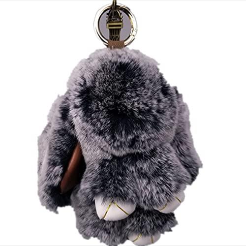 YUMEI Llavero Mini Llavero de Conejo pompón de Piel de Conejo llaveros Bolsos de Mujer Colgante Decorativo Llaves de Coche Accesorios Juguetes de Peluche para bebés