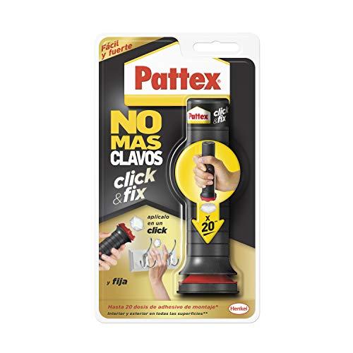 Pattex No Más Clavos Click&Fix, adhesivo de montaje de fácil uso, pegamento instantáneo listo para usar, pegamento fuerte predosificado para bricolaje, 1 x 30 g, 20 dosis
