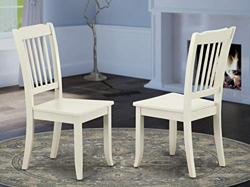 East West Furniture DAC-LWH-W Danbury Kitchen Vertical Slatted Chairs Back in Linen White Finish (Set of 2)