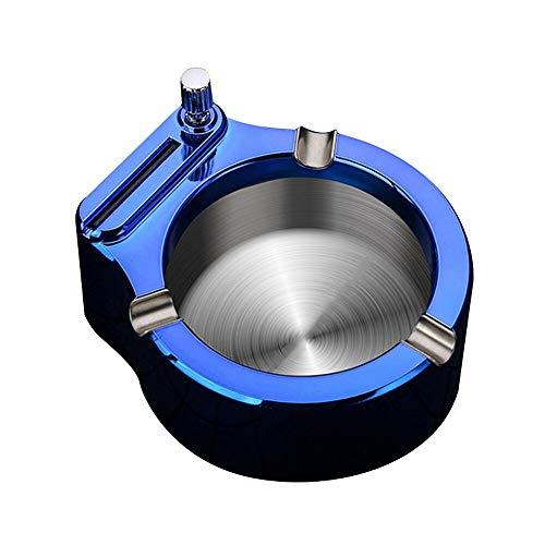 Más ligero Metal Retro Cenicero diez mil partido encendedor a prueba de viento queroseno pedernal fuego Arrancador encendedor decoraciones de escritorio Gadgets para hombres azul