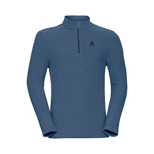 Odlo Pull Royal pour Homme, 1/2 Fermeture éclair, Peacoat, Rayures Bleues, Taille S