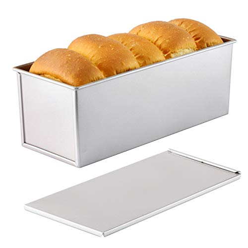 CHEFMADE Commercial Pullman Loaf Pan with Lid, 2.2Lb Dough Capacity Non-stick Rectangle Flat Toast Box for Oven Baking 4.8' x 12.8'x 4.7'(Champagne Gold)