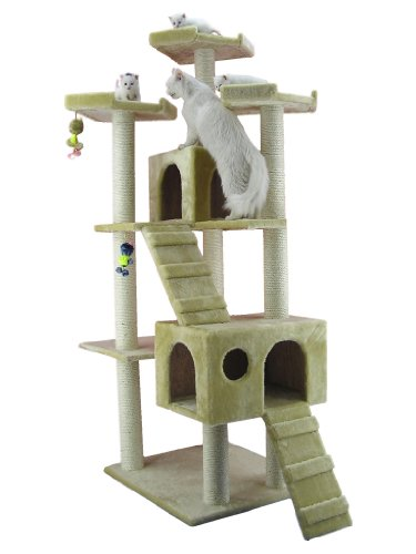 Armarkat Großer Kratzbaum AC7401 riesigem Katzenhaus und Treppe (Beige)