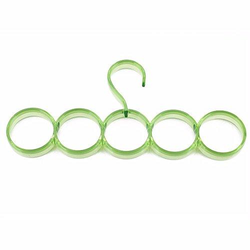 Appendiabiti in plastica Sciarpa Multifunzione Rack Rack ponteggi MENSOLA Carrello Rotondo di Colore Telaio pensile Multi-Anello appendino di Asciugatura,5 Ring-Green (Pacco da 3)