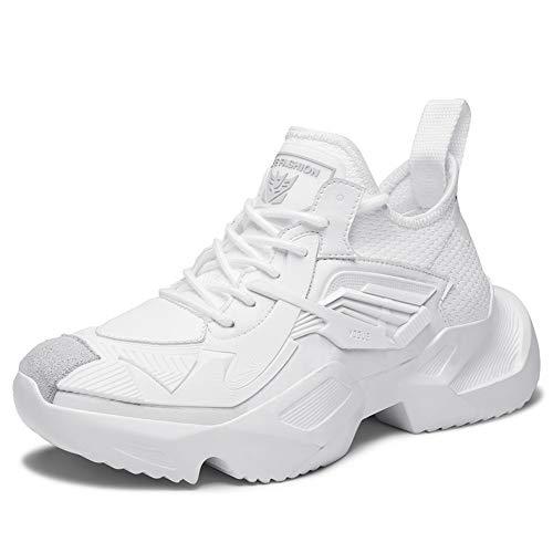 CXQWAN Chaussures de Sport pour Hommes, Chaussures de Sport Tout-Aller, Chaussures de Sport de Basket-Ball, Chaussures de sécurité antidérapantes antidérapantes à la Mode,White,42