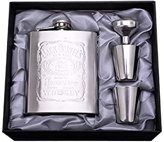 Portable Stainless Steel Wine Bottle Super Classy Pocket Hip Flask for Liquor Up To 200ml with Funnel and 4 Shot Glasses for Travel/Adventure/Gift for Men and Women Beautiful Box Included (7OZ Silver)