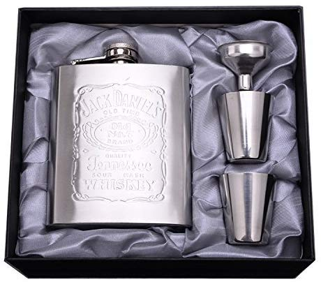 Fiaschetta acciaio Fiaschetta cromata diam 200 ml, Fiaschetta in acciaio inox Fiaschetta per whisky (Argento) (7oz)