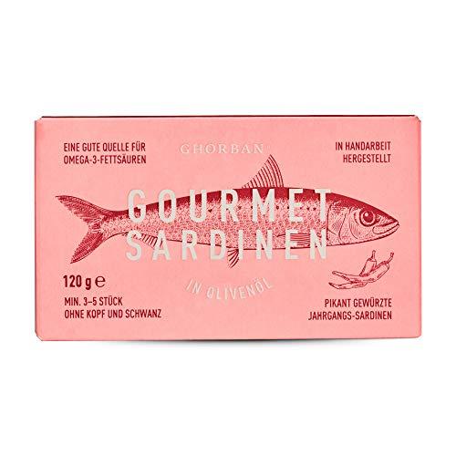 GHORBAN Gourmet Sardinen in Olivenöl (Pikant) - leicht scharf mit Chili, Jahrgangssardinen in der Dose, Ölsardinen eingelegt, Jahrgangs Sardinen in der Dose aus Portugal, höchste Qualität