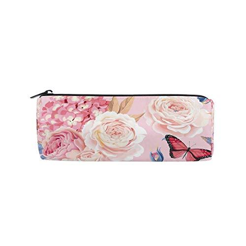 Pencil Bag Butterfly Rose Flower Pencil Case Pen Zipper Bag Pouch Holder Makeup Brush Bag for School Work Office