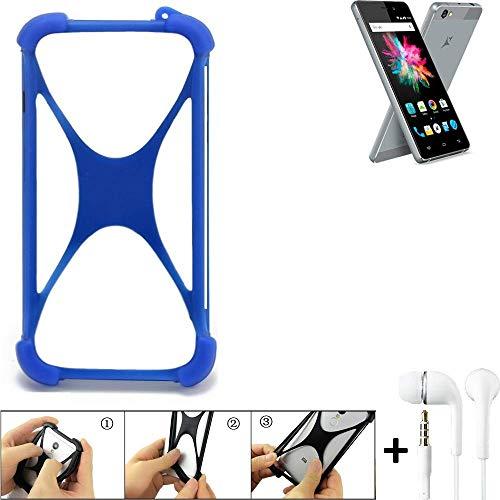 K-S-Trade® Bumper Für Allview X3 Soul Mini Schutzhülle Handyhülle Silikon Schutz Hülle Cover Case Silikoncase Silikonbumper TPU Softcase Smartphone, Blau (1x), Headphones