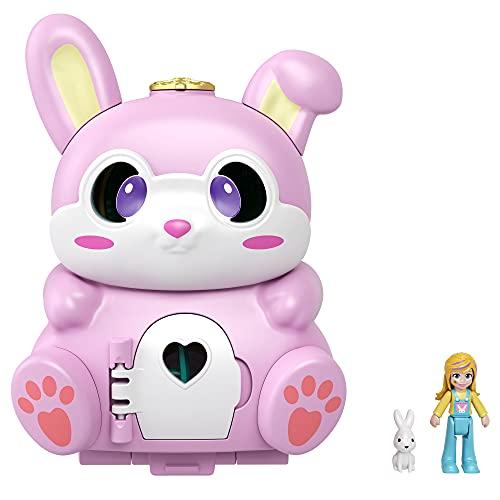 Polly Pocket GTM60 - Drehspaß-Schatulle Hase, zwei Spieloberflächen durch Umklappfunktion, Hasenfigur, ab 4 Jahren